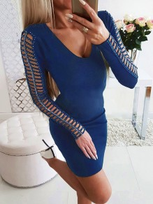 Blue Patchwork Rhinestone Cut Out Bodycon Fashion Mini Dress