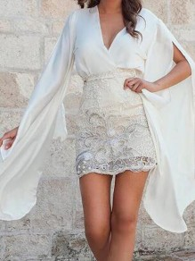 White Patchwork Lace Deep V-neck Irregular Flare Sleeve Two Piece Bodycon Mini Dress
