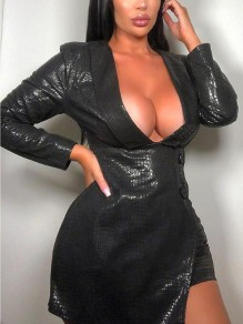 Black Irregular PU Leather Turndown Collar Latex Elegant NYE Party Mini Dress