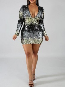 Black-Silver Patchwork Sequin Deep V-neck Sparkly Bodycon NYE Banquet Party Mini Dress