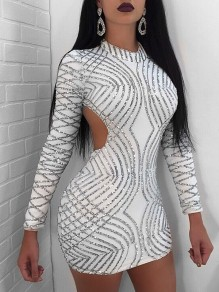 White Patchwork Sequin Backless Bodycon Sparkly Glitter Birthday Long Sleeve Party Mini Dress