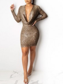 Coffee Sequin Cowl Neck Sparkly Bodycon Banquet NYE Party Mini Dress