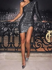 Grey Patchwork Sequin Asymmetric Shoulder Bodycon Sparkly Glitter Birthday V-neck Party Mini Dress