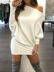 White Off Shoulder Dolman Sleeve Casual Mini dress