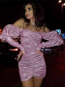 Pink Bright Wire Off Shoulder Pleated Bodycon Sparkly Glitter Birthday Party Mini Dress