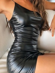 Black Spaghetti Strap Pleated Backless PU Leather Latex Rubber Party Mini Dress