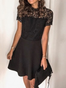 Black Patchwork Lace Backless Short Sleeve Elegant Mini Dress