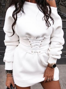 White Lace-up One Off Shoulder Long Sleeve Casual Mini Dress