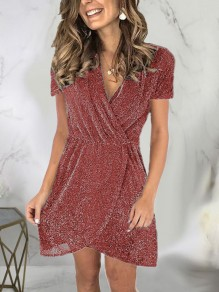 Red Patchwork Sequin Sparkly Glitter Birthday Party Mini Dress