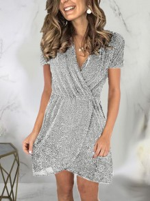 Silver Patchwork Sequin Sparkly Glitter Birthday Party Mini Dress