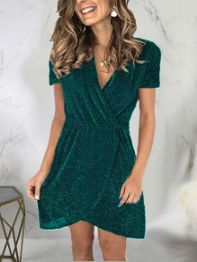 Green Patchwork Sequin Sparkly Glitter Birthday Party Mini Dress