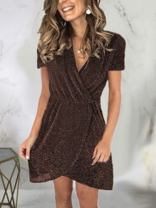 Coffee Patchwork Sequin Sparkly Glitter Birthday Party Mini Dress