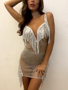 Silver Patchwork Grenadine Sequin Tassel Bodycon Sheer Sparkly Glitter Birthday Flapper Party Mini Dress