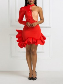 Red Asymmetric Shoulder Pearl Cascading Ruffle Bodycon Prom Evening Party Mini Dress