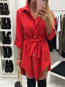 Red Belt Buttons High-low Turndown Collar Long Sleeve Fashion Mini Dresses