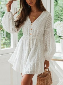 White Patchwork Lace Buttons V-neck Long Sleeve Elegant Mini Dress