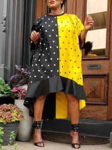 Black-Yellow Patchwork Ruffle Polka Dot Print Round Neck Elbow Sleeve High-Low Mini Dress