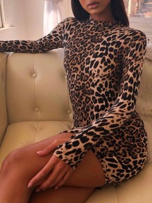 Brown Leopard Print Band Collar Long Sleeve Bodycon Clubwear Hot Mini Dress With Gloves