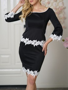 Black Patchwork Lace Bodycon 3/4 Sleeve Going out Mini Dress