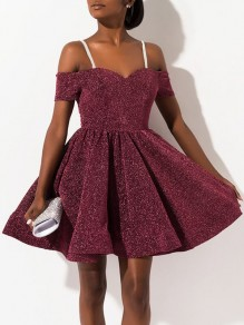Burgundy Bright Wire Pleated Condole Belt Glitter Cocktail Party Mini Dress