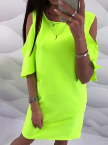 Green Cut Out Round Neck Fashion Mini Dress