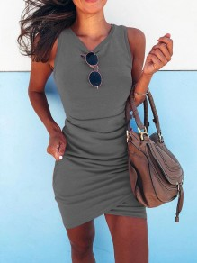 Grey Ruffle Round Neck Fashion Mini Dress