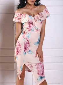 Pink Floral Print Ruffle Boat Neck Party Mini Dress