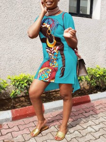 Light Blue Africa Girl Cartoon Print Round Neck Short Sleeve Slit High-low Casual T-Shirt Mini Dress