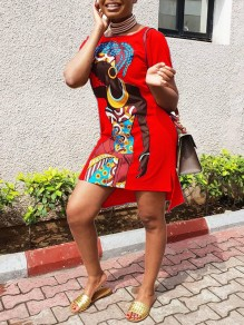Red Africa Girl Cartoon Print Round Neck Short Sleeve Slit High-low Casual T-Shirt Mini Dress