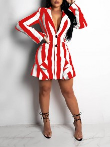 Red-White Striped Ruffle Pockets Turndown Collar V-neck Long Sleeve Work Mini Dresse