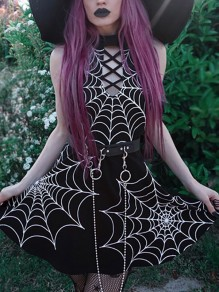 Black Cut Out Backless Spider Web Print Halter Neck Pleated Tutu Rosatic Witch Mini Dress