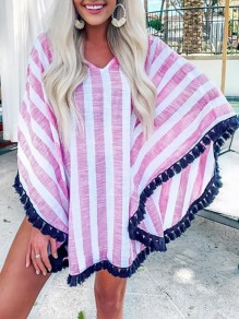 Red-White Striped Tassel V-neck Long Sleeve Chiffon Beachwear Bikini Smock Kimono Cover Up Beach Mini Dress