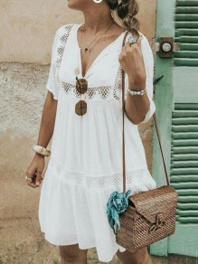 White Patchwork Lace Cut Out V-neck Short Sleeve Beach Mini Dress