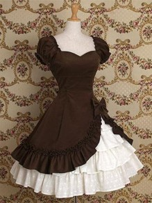 Coffee Patchwork Cascading Ruffle Lolita Drapery Tiered Bow Cosplay Costume Medieval Frill Frock Dress