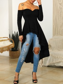Black Zipper Off Shoulder V-neck Long Sleeve Cascading Ruffle Pleated High-low Homecoming Mini Dress
