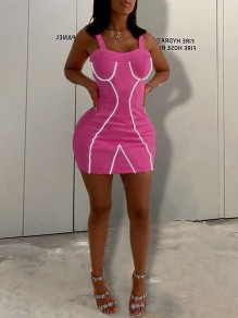 Rose Carmine Zipper Patchwork Reflective Strip Shoulder-Strap V-neck Sparkly Hip Bodycon Clubwear Mini Dress