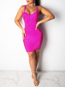 Rose Carmine Patchwork With Rhinestones Shoulder-Strap V-neck Hip Bodycon Clubwear Glitter Sparkly Party Mini Dress