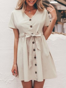 Beige Buttons Sashes Bow V-neck Short Sleeve Fashion Mini Dress