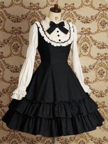 Black Patchwork Bow Lolita Ruffle Round Neck Cosplay Vintage Mini Dress