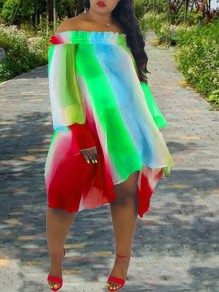 Red Irregular Rainbow Striped Tie Dye Grenadine Ruffle Off Shoulder Long Sleeve Big Swing High-Low Casual Mini Dress