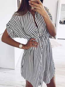 Black White Striped Print Drawstring Buttons Short Sleeve Slit Mini Dress