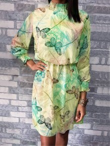 Green Yellow Butterfly Floral Pleated High Neck Long Sleeve Mini Dress