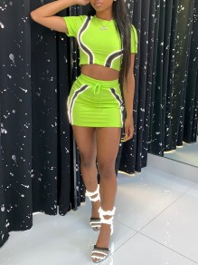Neon Yellow Patchwork Reflective Strip Round Neck Short Sleeve 2-in-1 High Waisted Sports Outfit Mini Dress