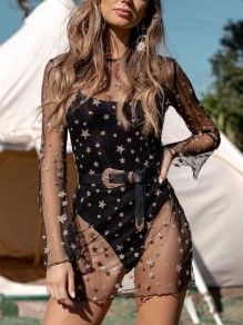 Black Grenadine Sequin Starry Print Sheer Long Sleeve Clubwear Bikini Cover Up Mini Dress