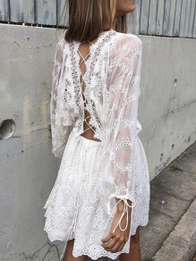 White Patchwork Lace Drawstring Backless Lantern Sleeve Casual Elegant Beach Mini Dress