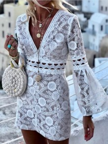 White Patchwork Lace Cut Out V-neck Flare Sleeve Fashion Casual Beach Mini Dress