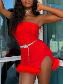Red Patchwork Feather Bandeau Off Shoulder Sleeveless Slit Bodycon Clubwear Hot Mini Dress
