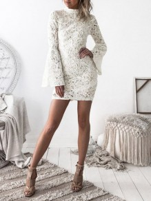 White Patchwork Lace Bodycon Ttrendy Comfy Flare Sleeve Sweet Mini Dress