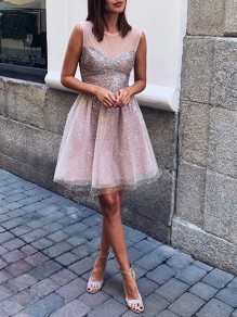 Pink Patchwork Grenadine Sequin Round Neck Sleeveless Glitter Sparkly Elegant Bridesmaid Prom Tulle Mini Dress