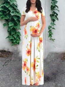 White Sunflower Print V-neck Short Sleeve Big Swing Maternity For Babyshower Maternity Maxi Dresses